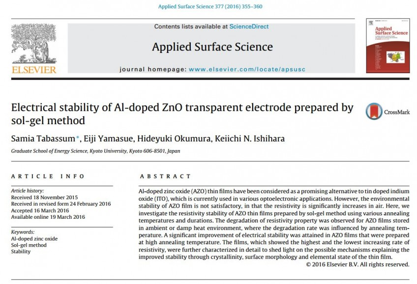 Published works of Tabassum, S. Ph.D in Applied Surface Science Journal