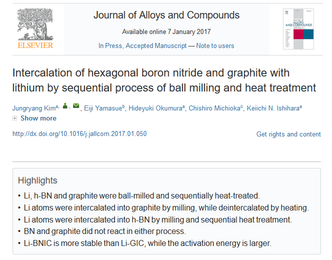 Original Article Publications of Jungryang Kim (Ph.D Candidate) in Journal of Alloys and Compounds