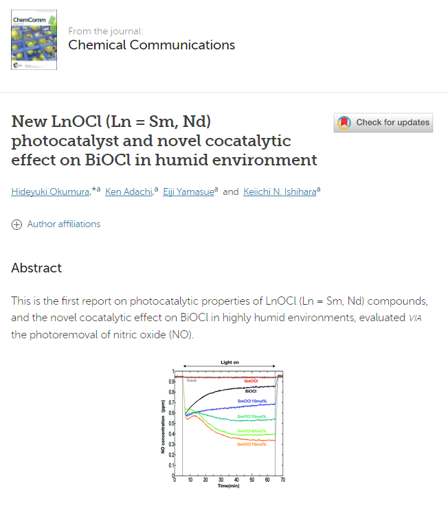 new-lnocl-ln-sm-nd-photocatalyst-and-novel-cocatalytic-effect-on-biocl-in-humid-environment-chemical-communications-rsc-publishing