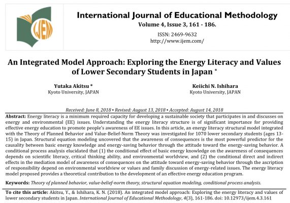 Original Article Publications of Yutaka Akitsu (Ph.D) in International Journal of Educational Methodology