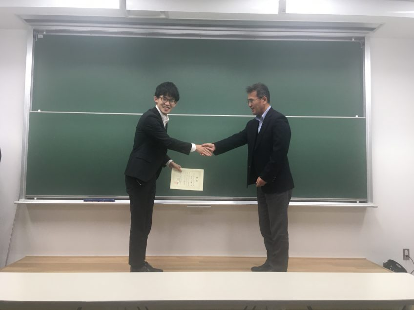 Best presentation award for Soichiro Yamaguchi in Master thesis presentation 2020!!